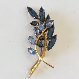 Juliana Teal and Sky Blue Navette Rhinestone Pin